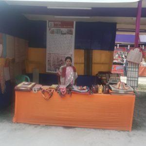 Lakkhi Sahoo at the stall