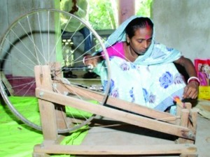 1 Setting up Charkha and winding thread in bobbin